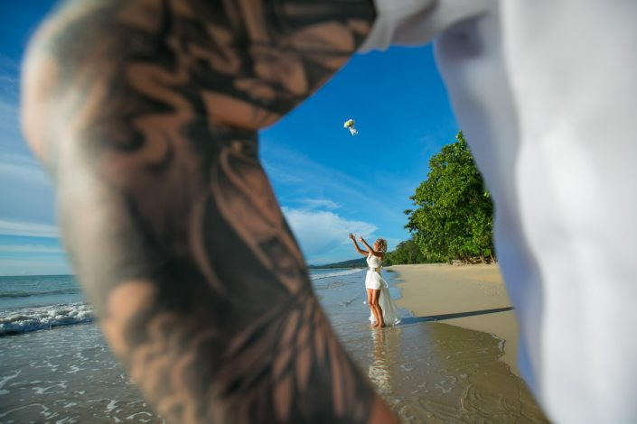 Amin and Christa's beach wedding at The Sarojin Resort and Sapa Thailand.