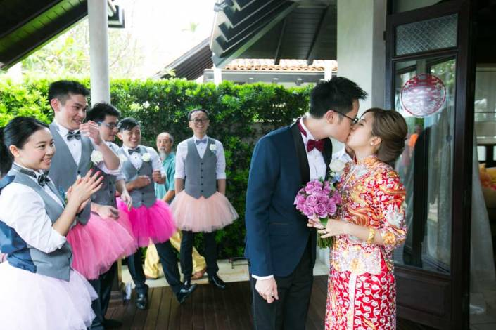 The western wedding ceremony held on the resort's Ocean Pier floating at the front beach of Le Méridien Resort & Spa, Koh Samui Thailand.