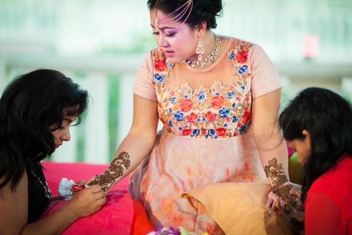 Nisha and Vikash indian wedding on Mehendi night party photography Thailand Indian Wedding