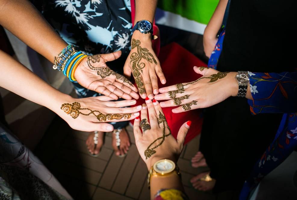 Nisha and Vikash indian wedding on Mehendi night party photography Thailand Indian Wedding