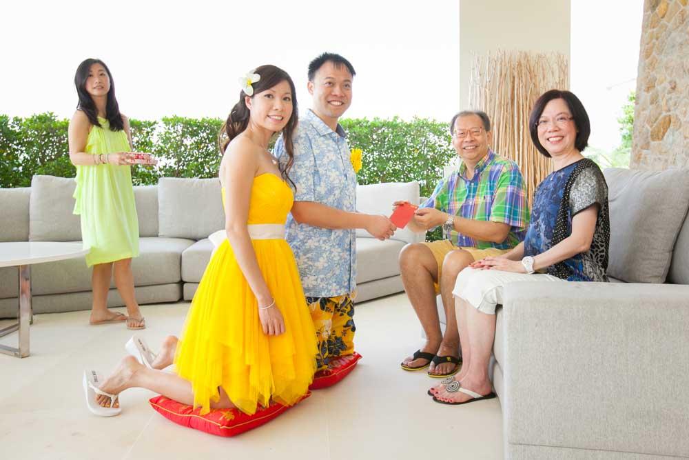 Tea ceremony for wedding in Samui Thailand for Dereek and Doreen at Samujana resort in Koh Samui.