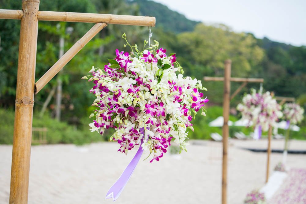 Beautiful Orchid decorated wedding venue in Thailand is beautiful and impress the guests at the event.