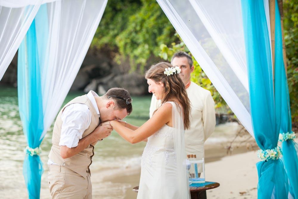 Beach wedding photo shooing for wedding couple in Cape Panwa Phuket Thailand