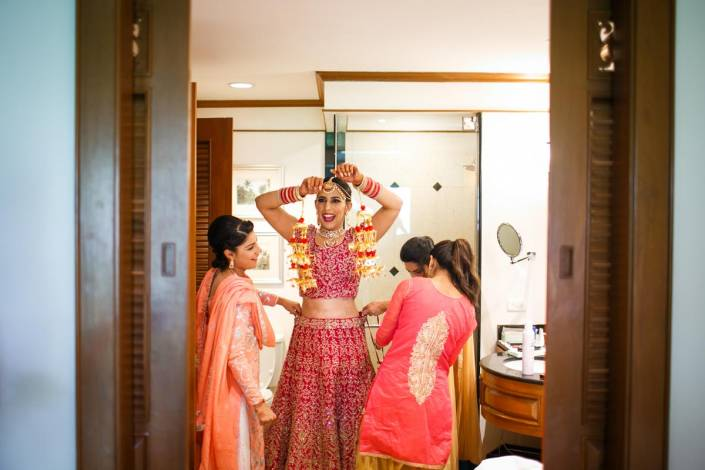 Sid and Mahek getting ready in morning for Indian wedding in destination Phuket Thailand