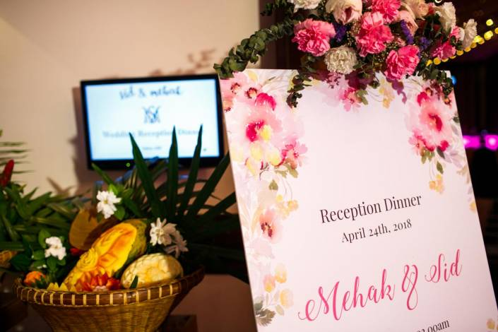 Sid and Mahek reception dinner in JW Marriott Phuket on there Indian wedding in destination Phuket Thailand